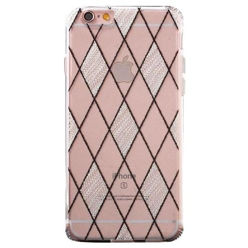Jlw Apple iPhone 6 Plus / 6S Plus Beyaz Desenli Şeffaf Silikon Kılıf