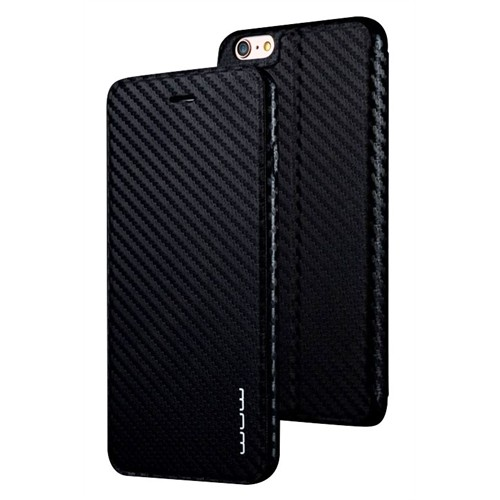 Jlw Apple iPhone 6 Plus / 6S Plus Standlı Kapaklı Karbon Siyah Kılıf