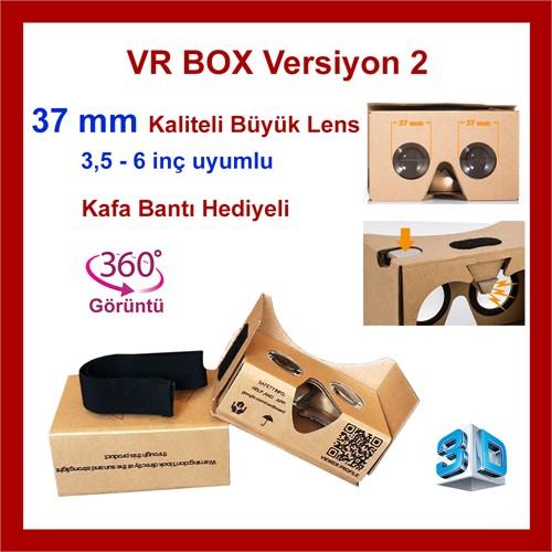 Google Cardboard V2 Vr Virtual Reality Sanal Gerçeklik Gözlüğü 3D 360 Derece