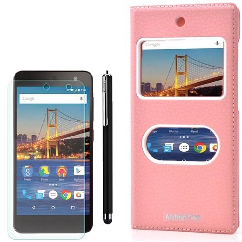 Cep Market General Mobile One 4G Kılıf Pencereli Kapak Dolce +Kalem+Kırılmaz Cam