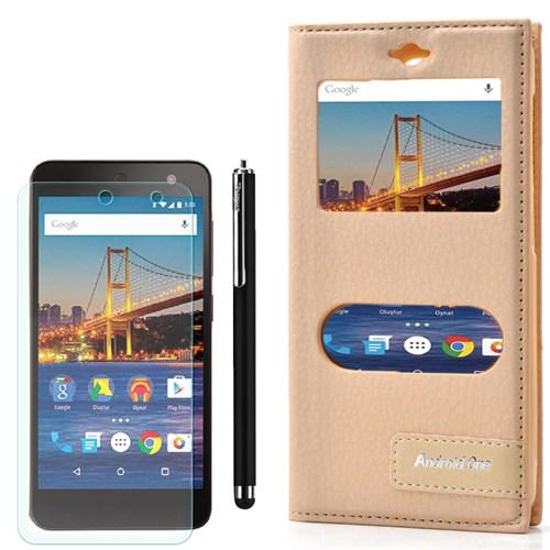 Cep Market General Mobile One 4G Kılıf Pencereli Safir +Kalem+Kırılmaz Cam