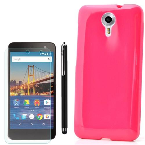 Cep Market General Mobile One 4G Kılıf Parlak Silikon +Kalem+Kırılmaz Cam