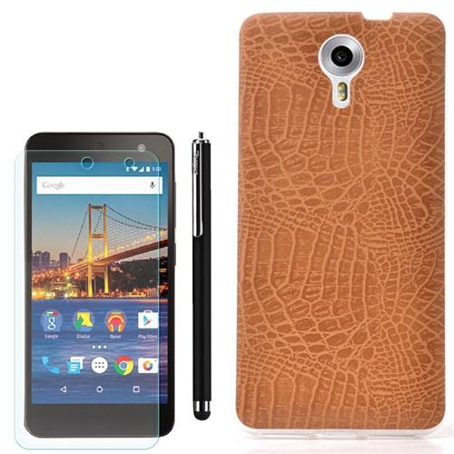 Cep Market General Mobile One 4G Kılıf Yılan Deri Silikon +Kalem+Cam