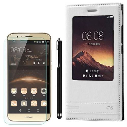 Cep Market Huawei Ascend G8 Kılıf Pencereli Deri Elite +Kalem+ Cam