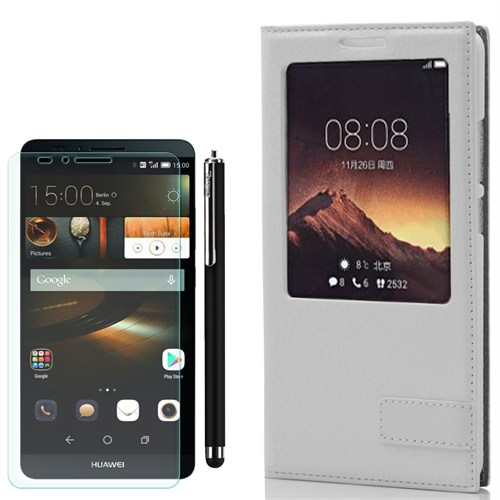 Cep Market Huawei Ascend Mate 7 Kılıf Pencereli Deri Safir +Kalem+ Cam