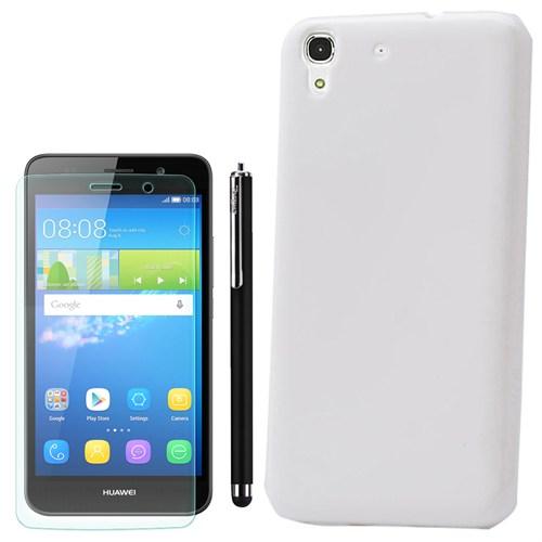 Cep Market Huawei Ascend Y6 Kılıf Parlak Silikon +Kalem+Kırılmaz Cam