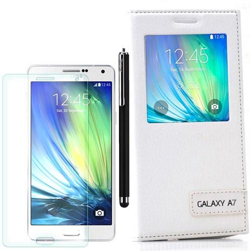 Cep Market Samsung Galaxy A7 Kılıf Pencereli Safir +Kalem+Kırılmaz Cam