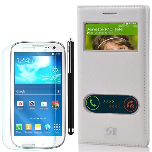 Cep Market Samsung Galaxy S3 Kılıf Pencereli Dolce +Kalem+Kırılmaz Cam