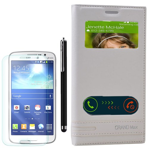 Cep Market Samsung Galaxy Grand Max Kılıf Pencereli Elite +Kalem+Kırılmaz Cam