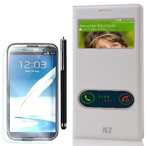 Cep Market Samsung Galaxy Note 2 Kılıf Pencereli Dolce +Kalem+Kırılmaz Cam