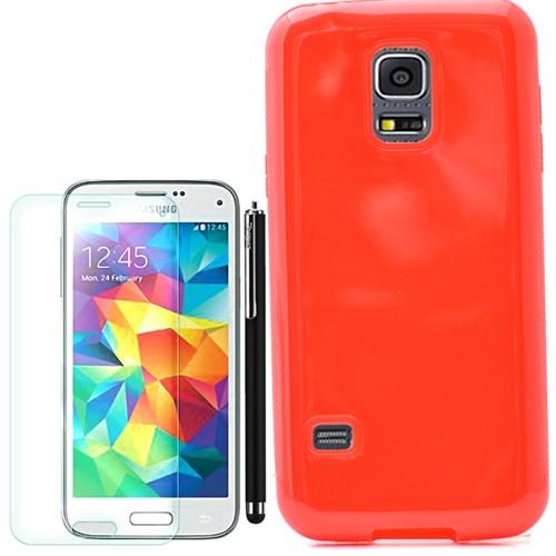 Cep Market Samsung Galaxy S5 Mini Kılıf Parlak Silikon +Kalem+Kırılmaz Cam