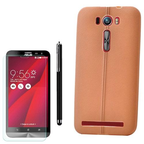 Cep Market Asus Zenfone 2 Laser 500Kl Kılıf Deri Silikon +Kalem+ Kırılmaz Cam
