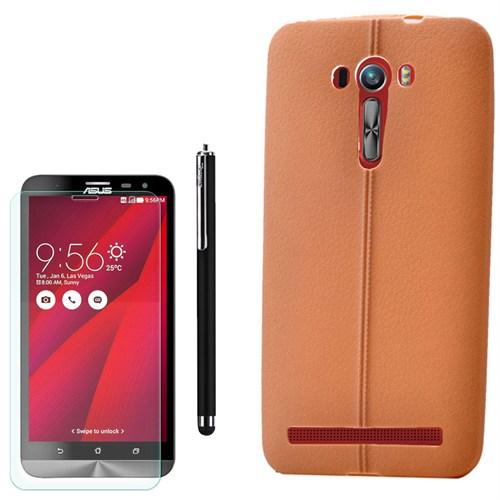 Cep Market Asus Zenfone 2 Laser 550Kl Kılıf Deri Silikon +Kalem+ Kırılmaz Cam