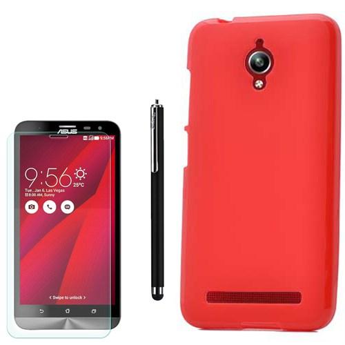 Cep Market Asus Zenfone Go Zc500tg Kılıf Parlak Silikon +Kalem+ Kırılmaz Cam
