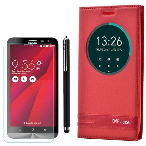 Cep Market Asus Zenfone Laser 550Kl Kılıf Pencereli Elite +Kalem+ Kırılmaz Cam