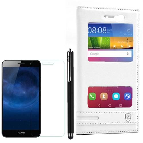 Cep Market Huawei Gr3 Kılıf Çift Pencereli Elite +Kalem+ Kırılmaz Cam