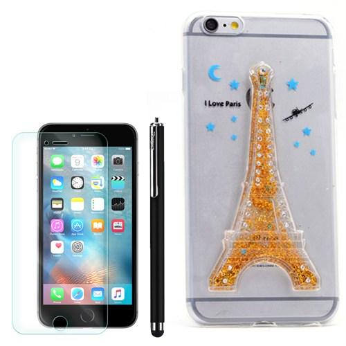 Cep Market Apple İphone 6 Kılıf Sulu Kumlu Silikon +Kalem+Kırılmaz Cam