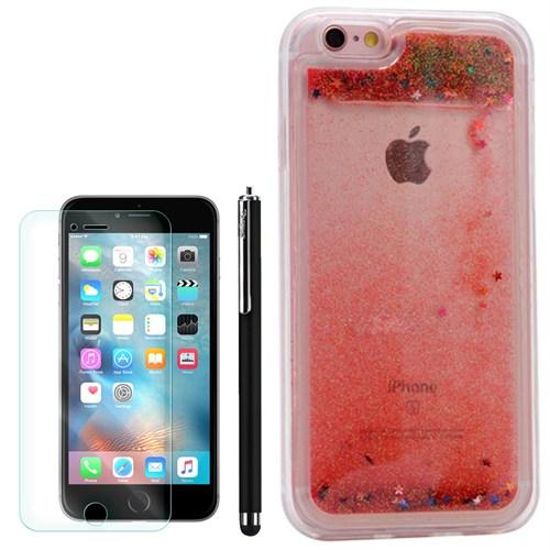 Cep Market Apple İphone 6 Kılıf Sulu Simli Silikon +Kalem+Kırılmaz Cam