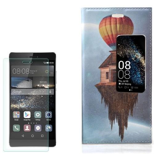 Cep Market Huawei Ascend P8 Kılıf Desenli Cüzdan Balon Ev + Cam