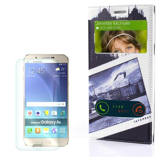 Cep Market Samsung Galaxy A8 Kılıf Pencereli Desenli Martılar + Kırılmaz Cam
