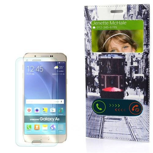 Cep Market Samsung Galaxy A8 Kılıf Pencereli Desenli Taksim Tramvay + Kırılmaz Cam