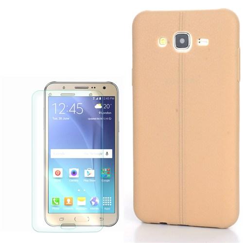Cep Market Samsung Galaxy J7 Kılıf Taksim Deri Silikon + Kırılmaz Cam