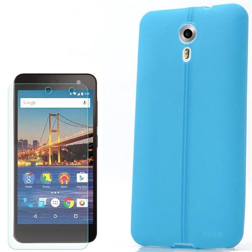 Cep Market General Mobile One 4G Kılıf Line Deri Silikon +Kırılmaz Cam
