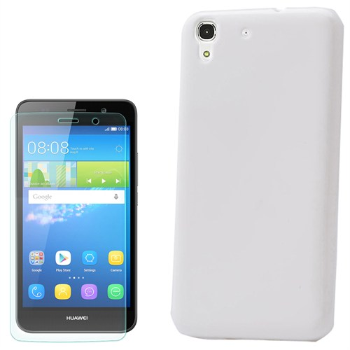 Cep Market Huawei Ascend Y6 Kılıf Parlak Silikon +Kırılmaz Cam
