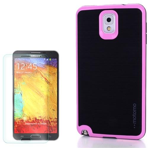 Cep Market Samsung Galaxy Note 3 Kılıf Motomo Arka Kapak + Kırılmaz Cam