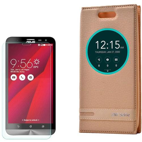 Cep Market Asus Zenfone Selfie Kılıf Akıllı Pencereli Elite + Kırılmaz Cam