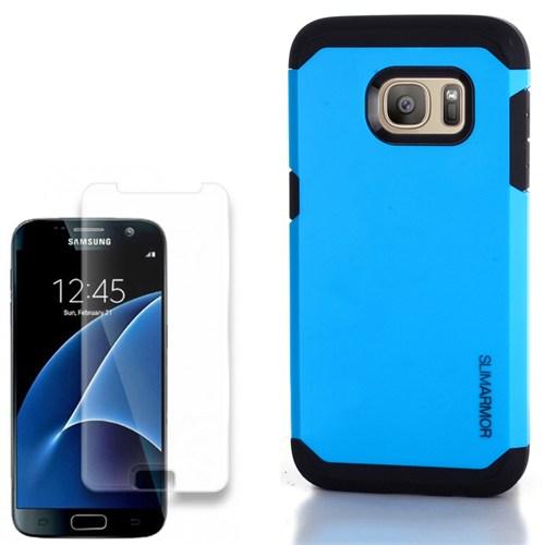 Cep Market Samsung Galaxy S7 Kılıf Çift Katmanlı Slim + Kırılmaz Cam