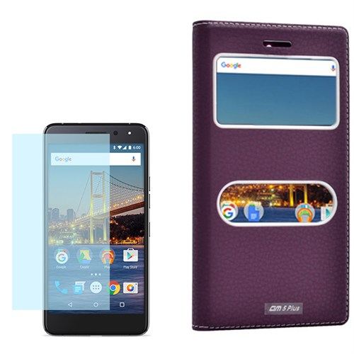 Cep Market General Mobile Gm5 Plus Kılıf Çift Pencere Dolce + Kırılmaz Cam