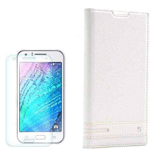 Cep Market Samsung Galaxy J1 Mini Kılıf Düz Kapaklı Elite + Kırılmaz Cam