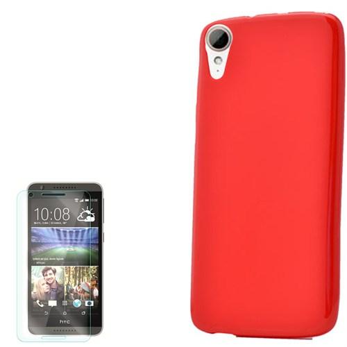 Cep Market Htc Desire 828 Kılıf Süper Silikon + Kırılmaz Cam