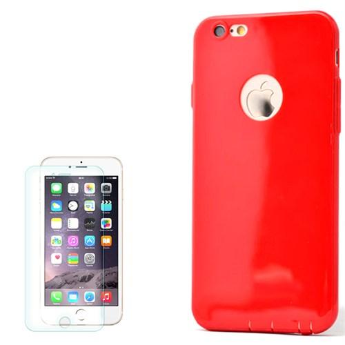 Cep Market Apple İphone 6 Kılıf İmax Süper Silikon + Kırılmaz Cam