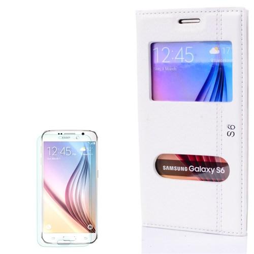 Cep Market Samsung Galaxy S6 Kılıf Çift Pencere Magnum + Kırılmaz Cam