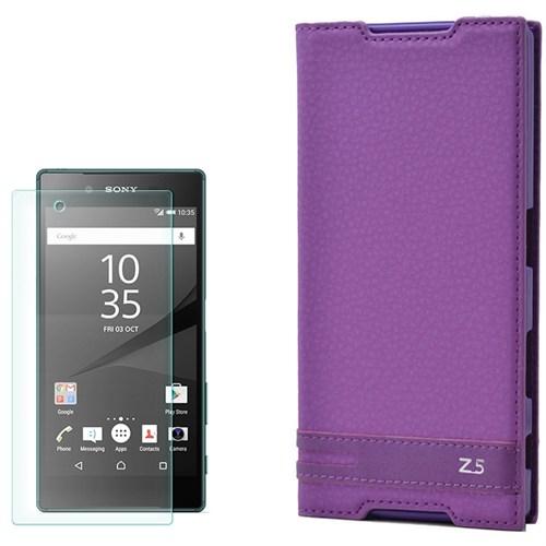 Cep Market Sony Xperia Z5 Kılıf Kapaklı Düz Elite + Kırılmaz Cam