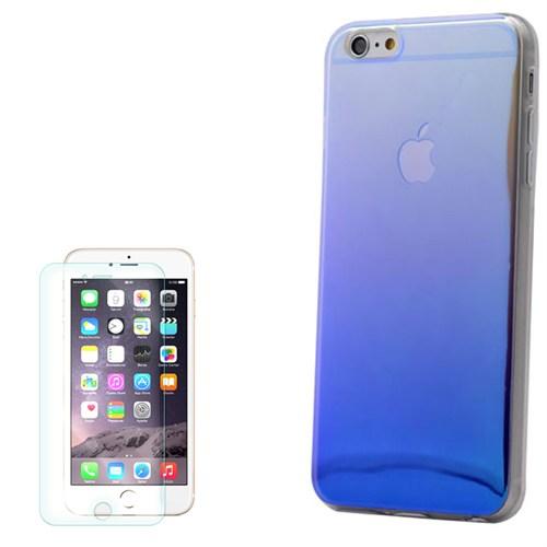 Cep Market Apple İphone 6 Kılıf Gökkuşağı Silikon + Kırılmaz Cam