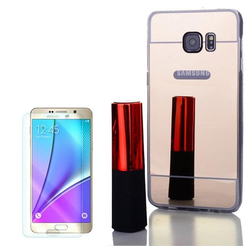 Cep Market Samsung Galaxy Note 5 Kılıf Aynalı Silikon + Kırılmaz Cam