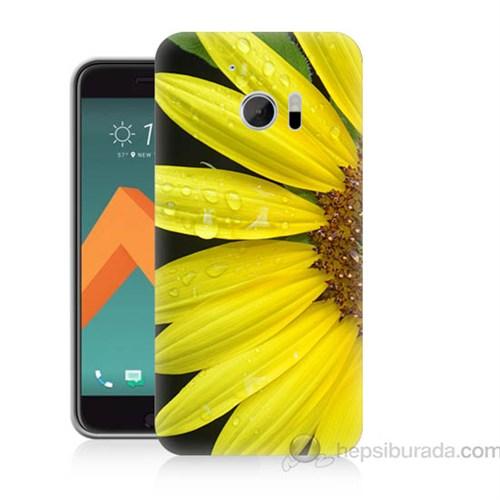 Teknomeg Htc Desire 10 Sarı Çiçek Baskılı Silikon Kapak Kılıf