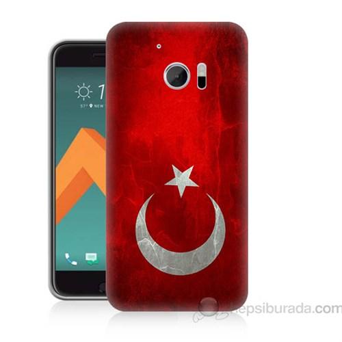 Teknomeg Htc Desire 10 Türkiye Bayrağı Baskılı Silikon Kapak Kılıf
