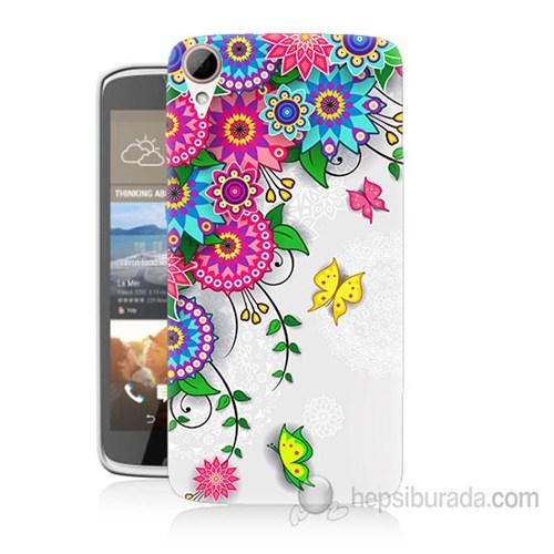 Teknomeg Htc Desire 828 Çiçek Ve Kelebek Baskılı Silikon Kapak Kılıf