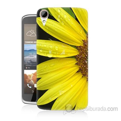 Teknomeg Htc Desire 828 Sarı Çiçek Baskılı Silikon Kapak Kılıf
