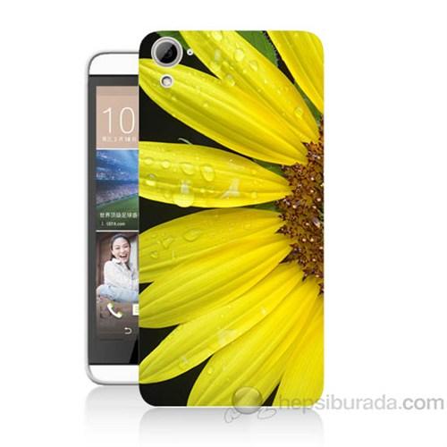 Teknomeg Htc Desire 826 Sarı Çiçek Baskılı Silikon Kapak Kılıf