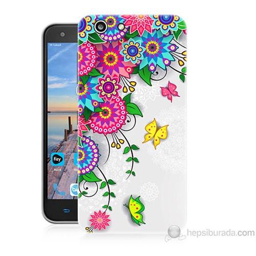 Teknomeg Turkcell T70 Çiçek Ve Kelebek Baskılı Silikon Kapak Kılıf