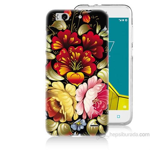 Teknomeg Vodafone Smart 6 Çiçekler Baskılı Silikon Kapak Kılıf