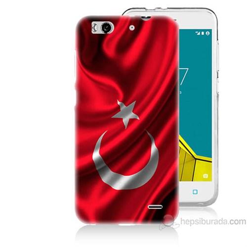 Teknomeg Vodafone Smart 6 Türkiye Bayrağı Baskılı Silikon Kapak Kılıf