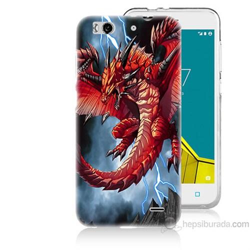 Teknomeg Vodafone Smart 6 Dragon Baskılı Silikon Kapak Kılıf