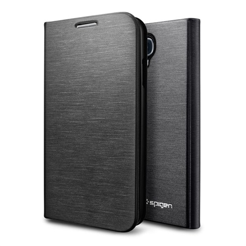 Spigen Samsung Galaxy S4 SIV i9500 Slim Wallet Kılıf - (Metallic Black) Siyah