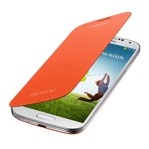 Samsung i9500 Galaxy S4 Kapaklı Kılıf Turuncu EF-FI950BOEGWW